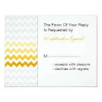 Mod chevron yellow and gray  Ombre wedding rsvp Card