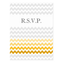 Mod chevron yellow and gray  Ombre wedding rsvp Postcard
