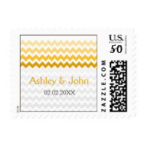 Mod chevron yellow and gray  Ombre wedding stamps