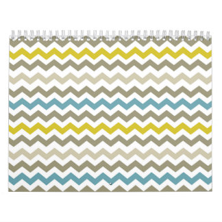 Mod Chevron Yellow Blue Gray Modern Calendar