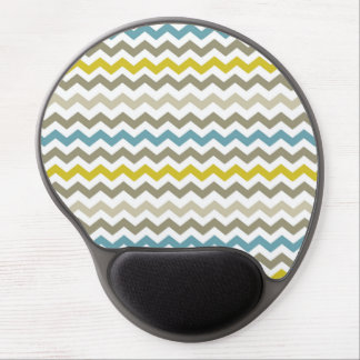Mod Chevron Yellow Blue Gray Modern Gel Mouse Pad