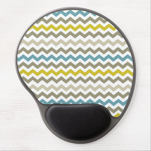 Mod Chevron Yellow Blue Gray Modern Gel Mouse Pad