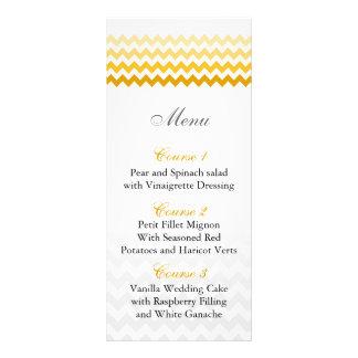 Mod chevron yellow Ombre wedding menu cards