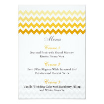 Mod chevron yellow Ombre wedding menu cards