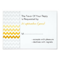 Mod chevron yellow Ombre wedding rsvp 3.5 x 5 Card