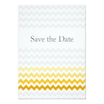 Mod chevron yellow Ombre wedding save the date Card