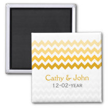 Mod chevron yellow Ombre wedding save the date Magnet