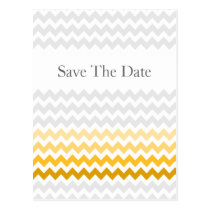 Mod chevron yellow Ombre wedding save the date Postcard
