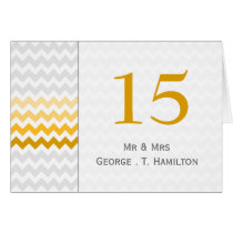 Mod chevron yellow Ombre wedding table numbers Card