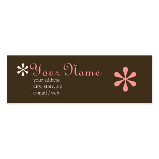 Mod Chocolate & Pink Calling Card Double-Sided Mini Business Cards (Pack Of 20)
