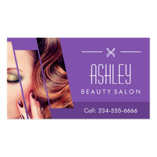 Mod Classy Purple Fashion Girl Makeup Hair Salon Business Card