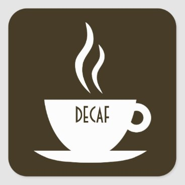 Coffee Themed mod coffee : decaf square sticker