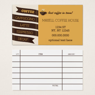 Mod Coffee House Business Card with Bill receipt