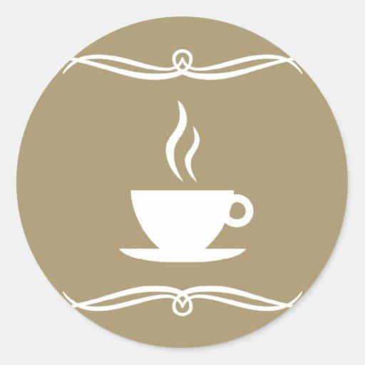 mod coffee round sticker