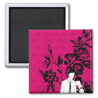 Mod Couple 2 Inch Square Magnet