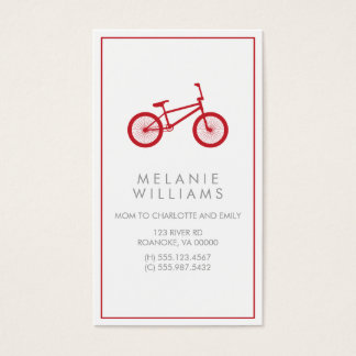 Mod Cranberry Red Bicycle Business Card