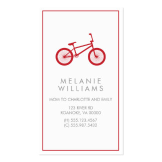 Mod Cranberry Red Bicycle Double-Sided Standard Business Cards (Pack Of 100)