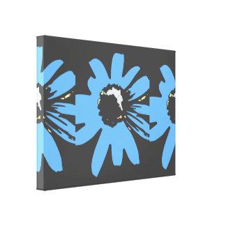 Mod daisy blue and black canvas print