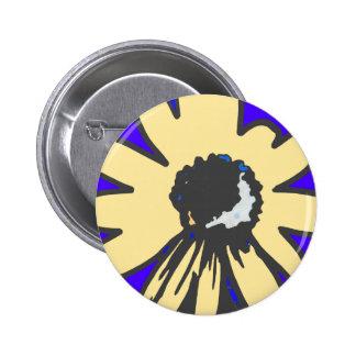 Mod daisy, blue and yellow   HEVi Fineart Pinback Button