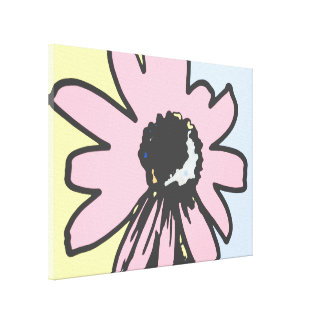 Mod daisy pale yellow and blue canvas print