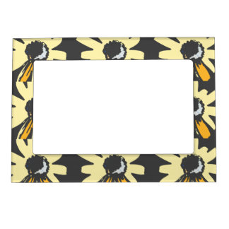 Mod daisy pale yellow ochre black magnetic frame