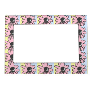 Mod daisy pale yellow pink and blue frames