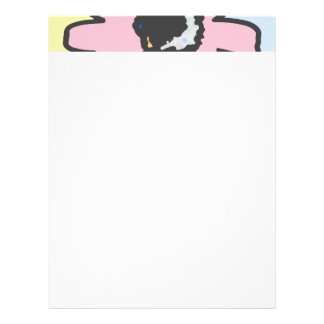 Mod daisy pale yellow, pink and blue pattern letterhead