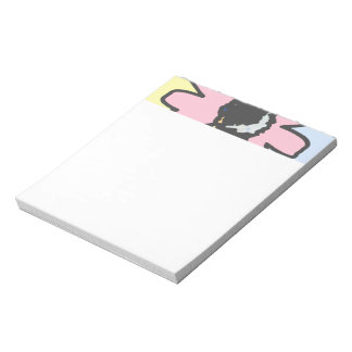 Mod daisy pale yellow, pink and blue pattern notepad