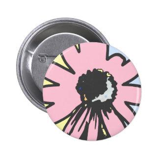 Mod daisy pale yellow, pink and blue pattern pinback button