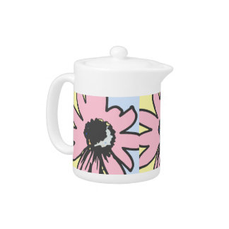 Mod daisy pale yellow, pink and blue pattern teapot