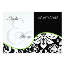 mod damask green rsvp cards standard 3.5 x 5