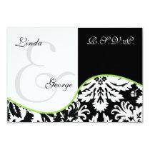 mod damask green rsvp cards standard 3.5 x 5