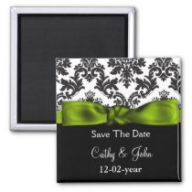 mod damask green Save the date magnet