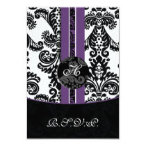 mod damask purple rsvp cards standard 3.5 x 5