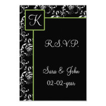 mod damask wedding R.S.V.P standard 3.5 x 5 Card