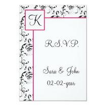 mod damask wedding R.S.V.P standard 3.5 x 5 Card
