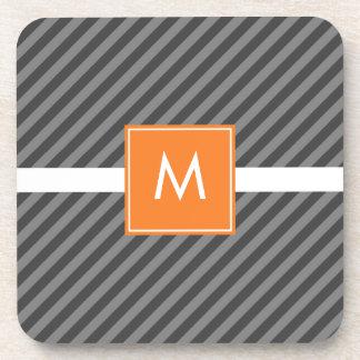 Mod Diagonal Stripe Gray Burnt Orange Coasters