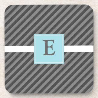 Mod Diagonal Stripe Gray with Light Blue Coasters