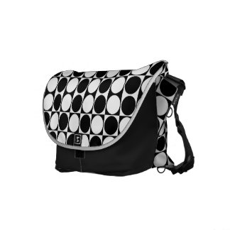 Mod Dots Black & White Messenger Bag (basic black)