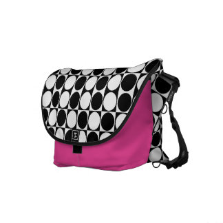 Mod Dots Black & White Messenger Bag (hot pink)