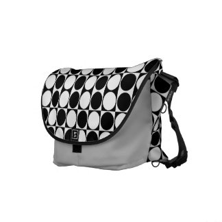 Mod Dots Black & White Messenger Bag (silver dust)