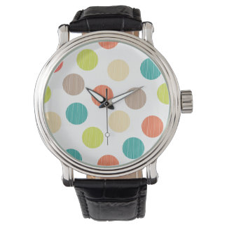 Mod Dots Hand Drawn Doodle Teal Orange Circles Wrist Watches