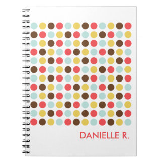 Mod dots pattern orange white personalized journal