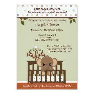 Mod ELEPHANT Baby Shower Invitation KME-G green