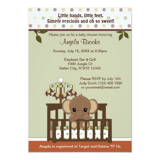 Mod ELEPHANT Baby Shower Invitation KME-G green