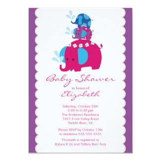 Mod Elephant Baby Shower Invitation Twins & Mom