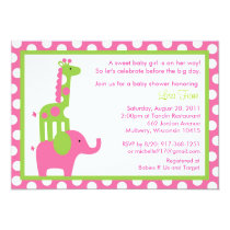 Mod Elephant Giraffe Baby Shower Invitations