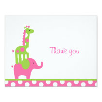 Mod Elephant Giraffe Flat Thank You Note Cards