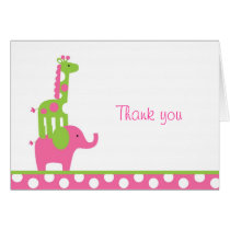 Mod Elephant Giraffe Thank You Note Cards