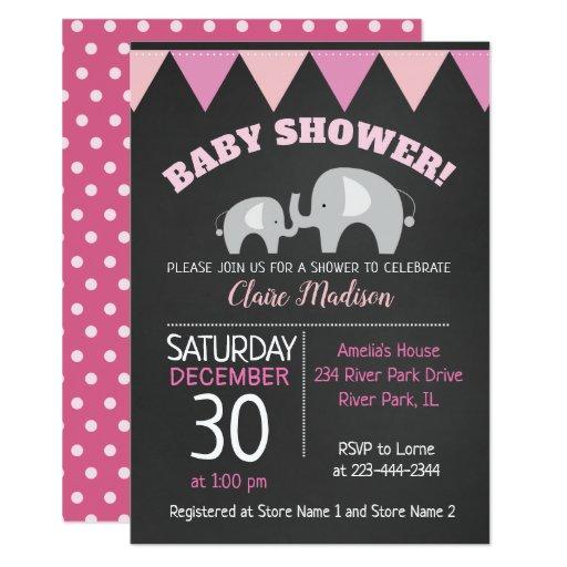 Mod Elephant Girl Chalkboard Baby Shower Invite